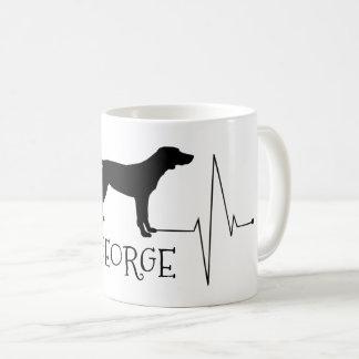 Personalized Pointer Love My Dog Heart Beat コーヒーマグカップ