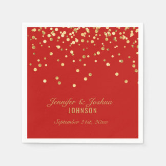 Personalized RED Gold Confetti Wedding スタンダードカクテルナプキン