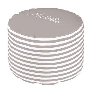 Personalized taupe khaki beige stripe pattern pouf プーフ