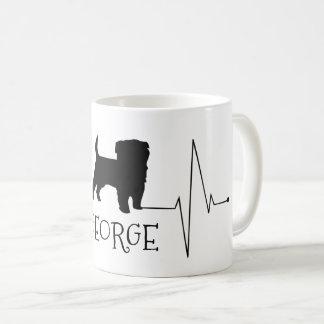 Personalized Terrier Love My Dog Heart Beat コーヒーマグカップ