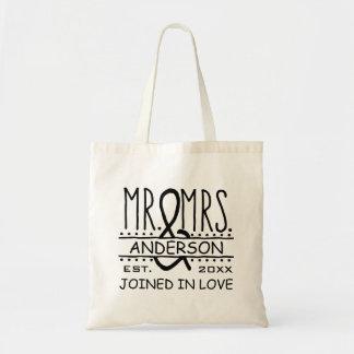 personalized Wedding氏および夫人名字の日付 トートバッグ