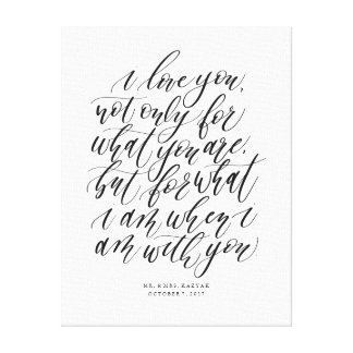 Personalized Wedding Calligraphy Love Quote Sign キャンバスプリント