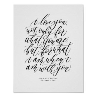 Personalized Wedding Calligraphy Love Quote Sign ポスター