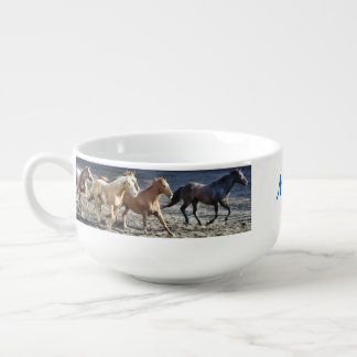 Personalized Wild Horses Running スープマグ