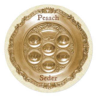 Pesach円形のSederのプレート 13.3 スクエアインビテーションカード