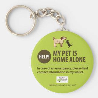 Pet Alert Keychain | Help! My pet is home alone! ベーシック丸型缶キーホルダー