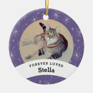 Pet Memorial Personalized Purple Add Your Photo セラミックオーナメント