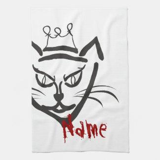 Pet Towelのあなたのここの名前のテンプレート猫王 キッチンタオル