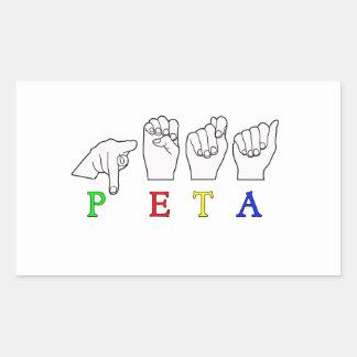 PETA ASL FINGERSPELLEDの印の名前 長方形シール