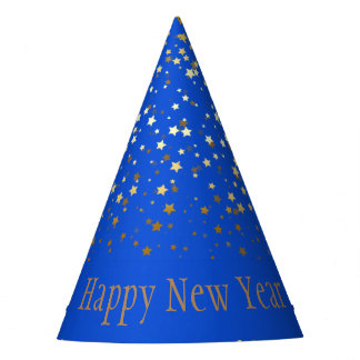 Petite Silver Stars Happy New Year Hat- Blue パーティーハット