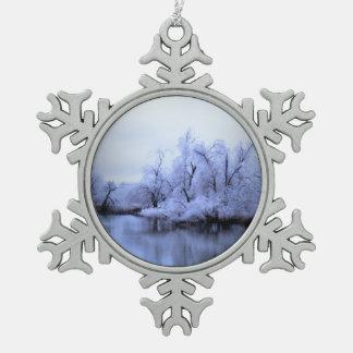 Peweterの雪片、ヤナギの冬の不思議の国 スノーフレークピューターオーナメント