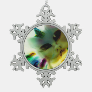 Pewter Snowflake Ornament熱狂するな猫の女性 ピューター製スノーフレークオーナメント