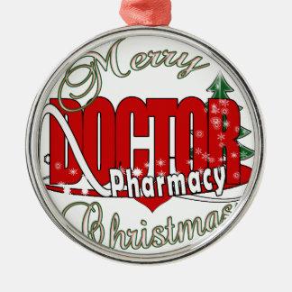 PHARMACYクリスマスDRの博士 シルバーカラー丸型オーナメント