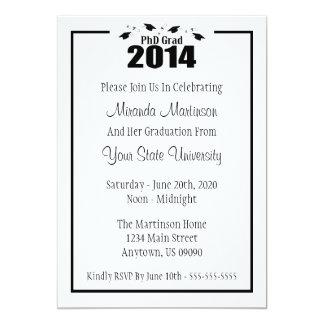 PhDの卒業生の2014年の卒業の招待状(黒い帽子) カード