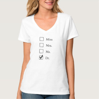 PhDの女性の卒業Vの首のTシャツ Tシャツ