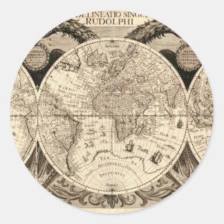 Philipp Eckebrecht - 1630年著旧式な世界地図 ラウンドシール