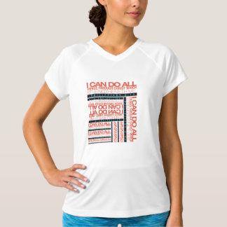 Philippiansの4:13の女性の二重乾燥したV首のTシャツ Tシャツ