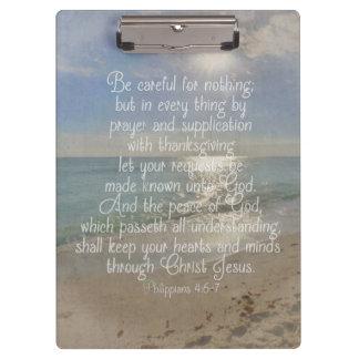 Philippiansの4:13の平和聖書の詩のビーチのクリスチャン クリップボード