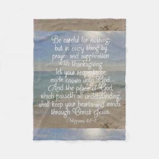 Philippiansの4:13の平和聖書の詩のビーチのクリスチャン フリースブランケット