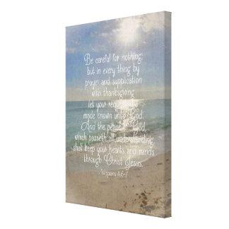 Philippiansの4:13の聖書の詩のビーチのクリスチャンの芸術 キャンバスプリント