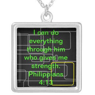 Philippiansの4:13 シルバープレートネックレス