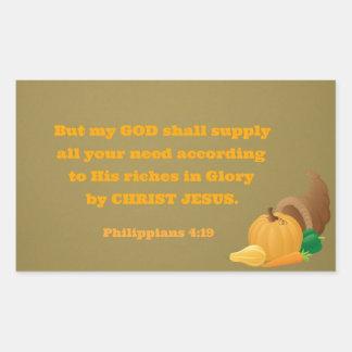 Philippiansの4:19しかし私の神はあなたのすべて供給します 長方形シール