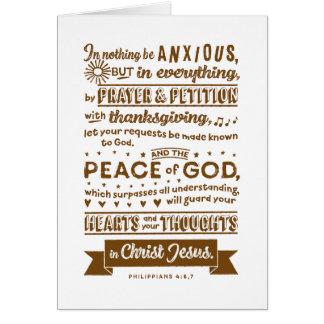 Philippiansの4:6、7 カード