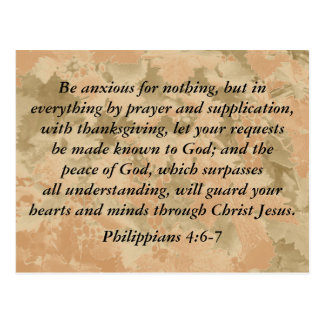 Philippiansの4:6 - 7 ポストカード