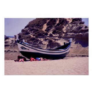 Phoenicianの印が付いているポルトガルの漁船 ポスター