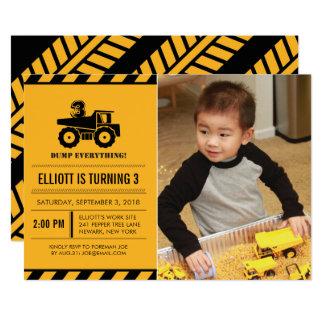Photo Dump Truck Birthday Party Invites 12.7 X 17.8 インビテーションカード
