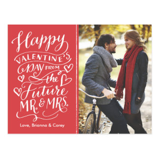 Photo Save Dateバレンタインの未来の氏および夫人 ポストカード