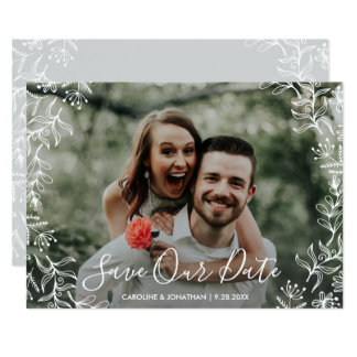 Photo Save the Date Hand Drawn Petite Flowers カード