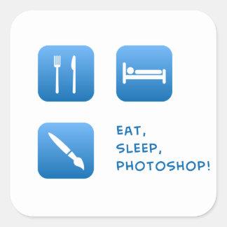 、Photoshop食べて下さい、眠らせて下さい スクエアシール