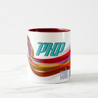 PHP-赤いオレンジ灰色は波を滑らかにします ツートーンマグカップ