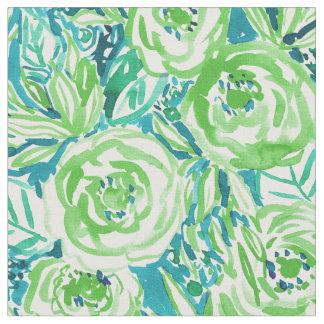 PHUNKY PHRESHの緑の水のBohoの花柄の水彩画 ファブリック