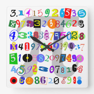 Piのカラフルそしておもしろいの描写 スクエア壁時計