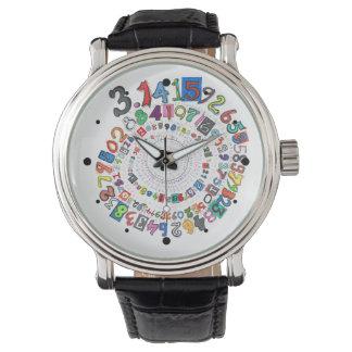 Piのディジットはカラフルな螺線形を形作ります 腕時計