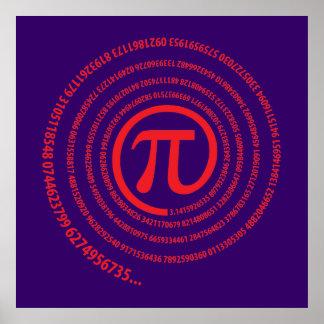Piの印、螺線形版 ポスター