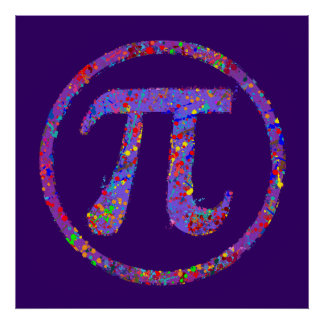 Piの記号の行為の絵画の(ばちゃばちゃ)跳ねる ポスター