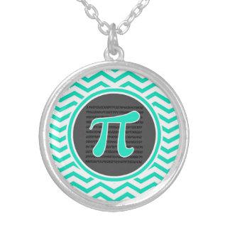 Piの記号; 水緑のシェブロン シルバープレートネックレス