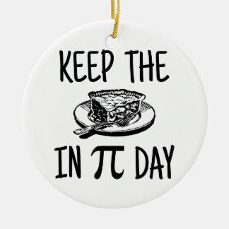 Pi日のパイを保存して下さい セラミックオーナメント