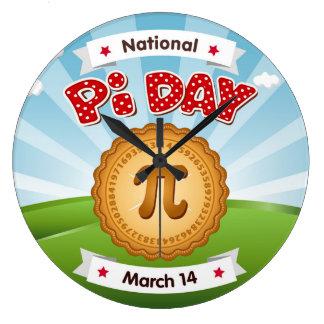 Pi日は、数学を、食べますパイを祝います! ラージ壁時計