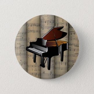 Piano~は楽譜の背景の~のミュージカルを転がりました 5.7cm 丸型バッジ