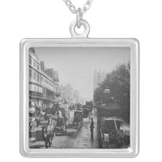 Piccadilly、c.1900の眺め シルバープレートネックレス