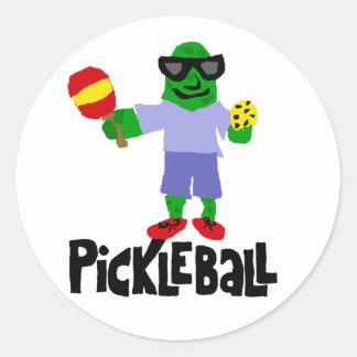 Pickleballのかいが付いているおもしろいなピクルス ラウンドシール