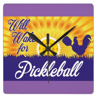 """Pickleballのために""の柱時計目覚めます スクエア壁時計"