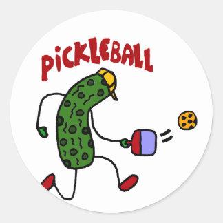 Pickleballの行為のデザインを遊ぶおもしろいなピクルス ラウンドシール