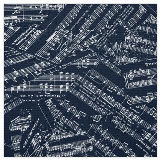 Pieces of Music White/Blue POMV ファブリック