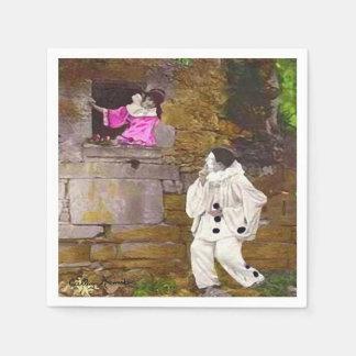 Pierrotおよびオダマキ(植物) スタンダードカクテルナプキン