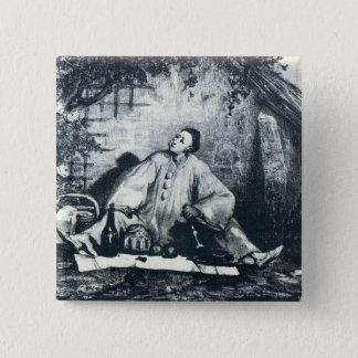 Pierrotの食事 5.1cm 正方形バッジ